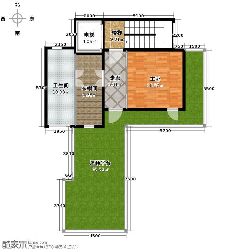 富力十号110.97㎡Bl-05合院三层平面图户型10室