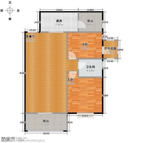 九鼎名都2室1厅1卫1厨82.98㎡户型图