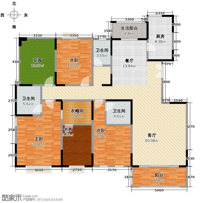 中国铁建梧桐苑194.00㎡在售B51米客厅户型4室2厅3卫
