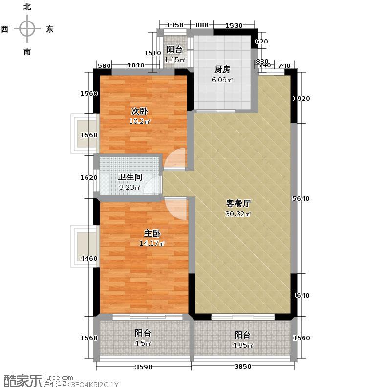 德云华城94.81㎡一期1号楼A-1-A-3标准层户型2室1厅1卫1厨