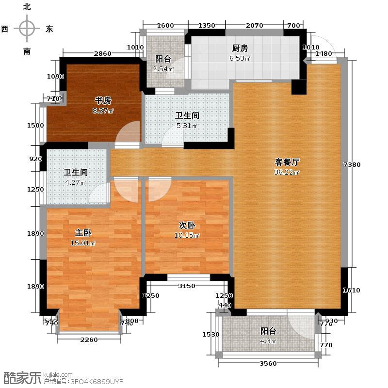 当代国际花园十五区高层119.16㎡十五区C4(2-26层)户型3室2厅2卫