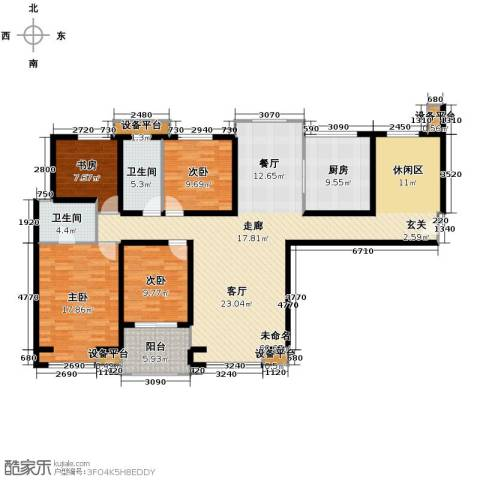 中海曲江碧林湾4室0厅2卫1厨158.00㎡户型图