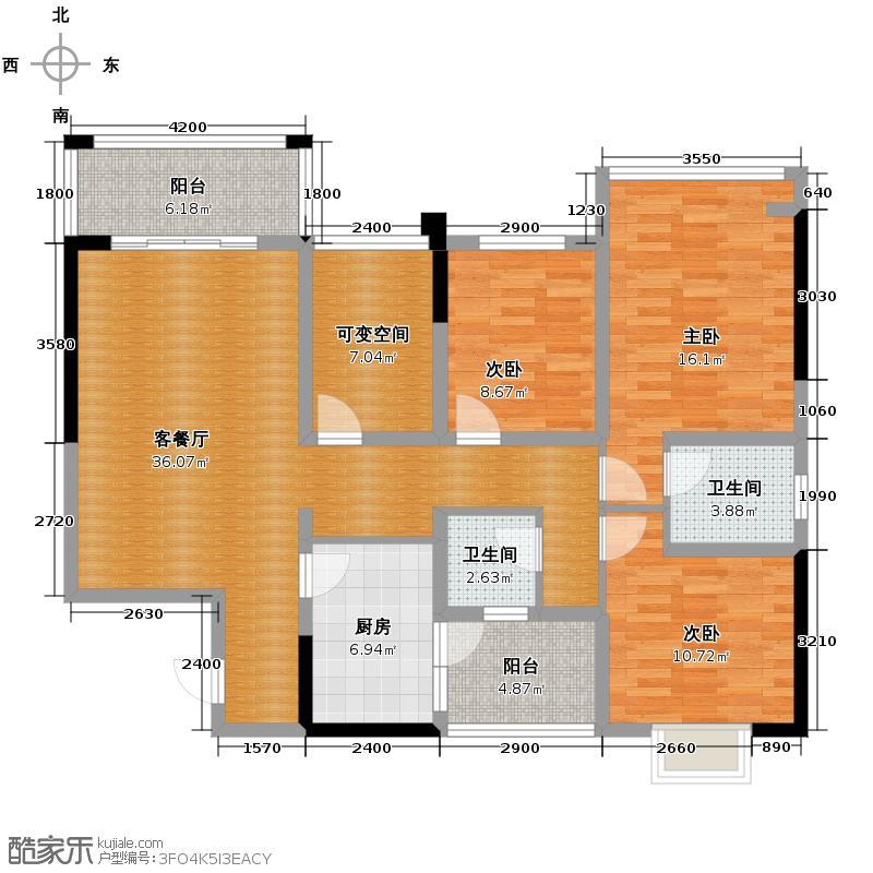 东山国际新城119.16㎡D区绿宝石园B-1户型3室2厅2卫