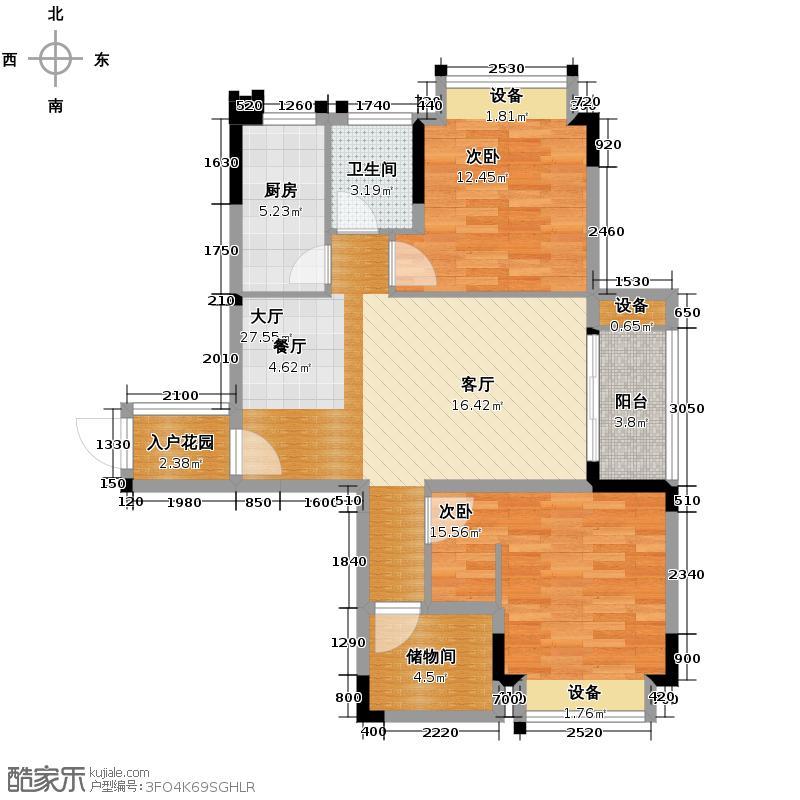 中庚城87.29㎡+可变F户型2室1厅1卫