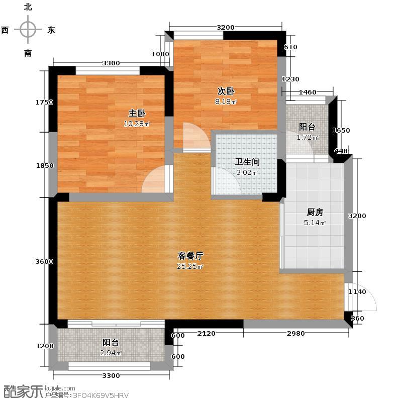 佳兆业8号75.00㎡D1户型2室2厅1卫