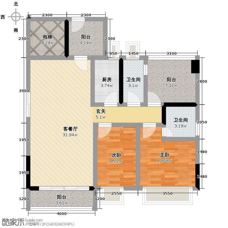 长信银湾89.00㎡19栋04单位户型3室2厅2卫