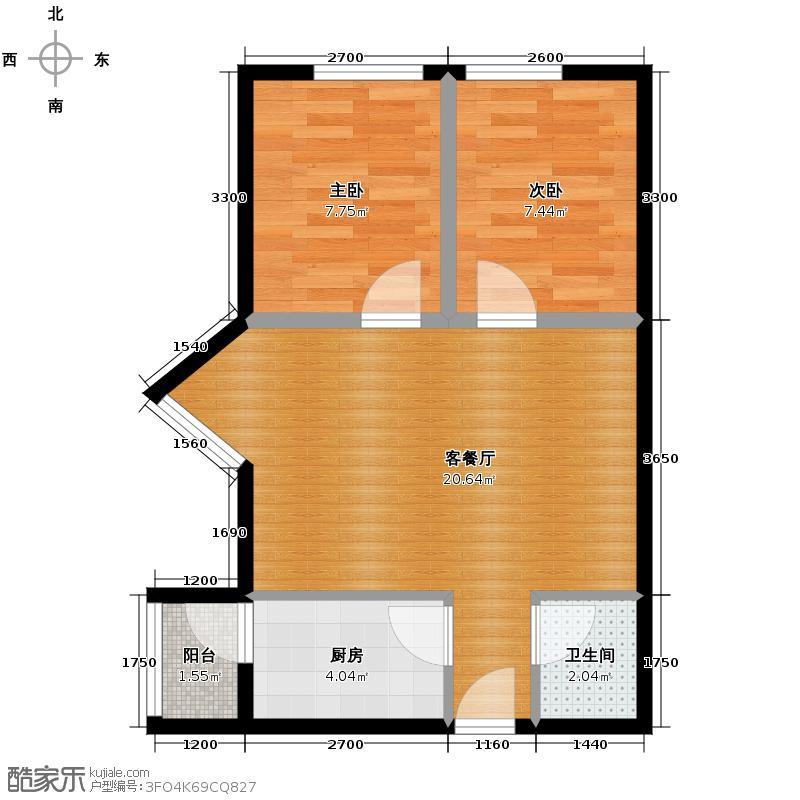 紫金乐章58.00㎡户型2室1厅1卫1厨