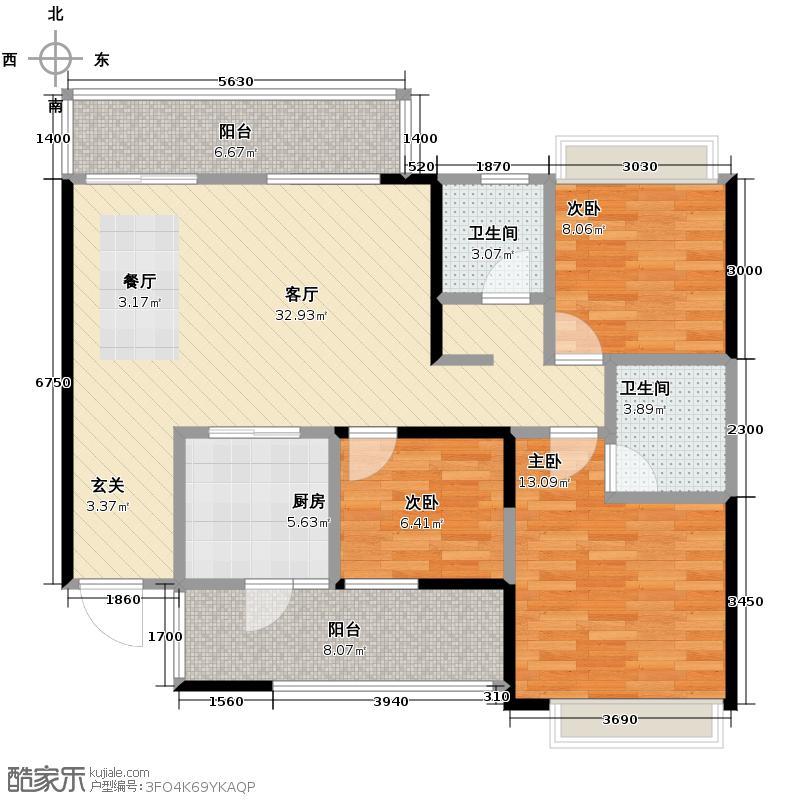 万科城115.00㎡1/2单元I3户型3室2厅2卫
