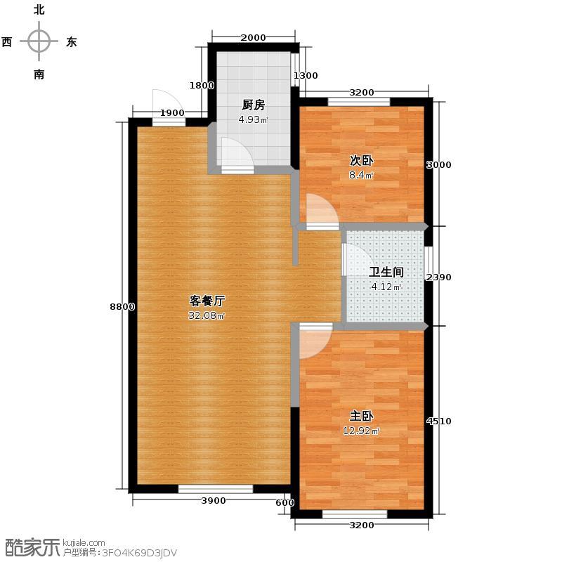 东安加州枫景98.00㎡二期19号楼户型2室2厅1卫
