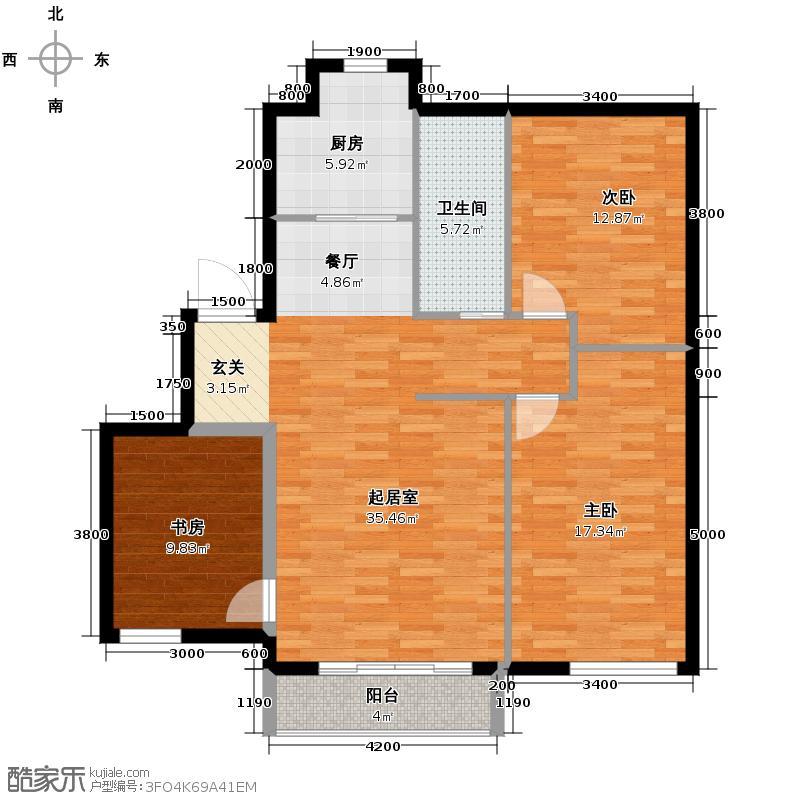 第五郡111.88㎡户型3室1卫1厨