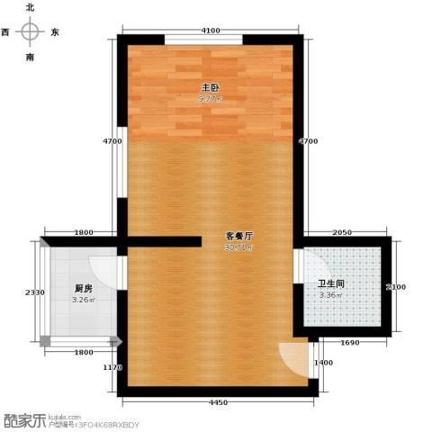 捷瑞新时代1厅1卫1厨56.00㎡户型图