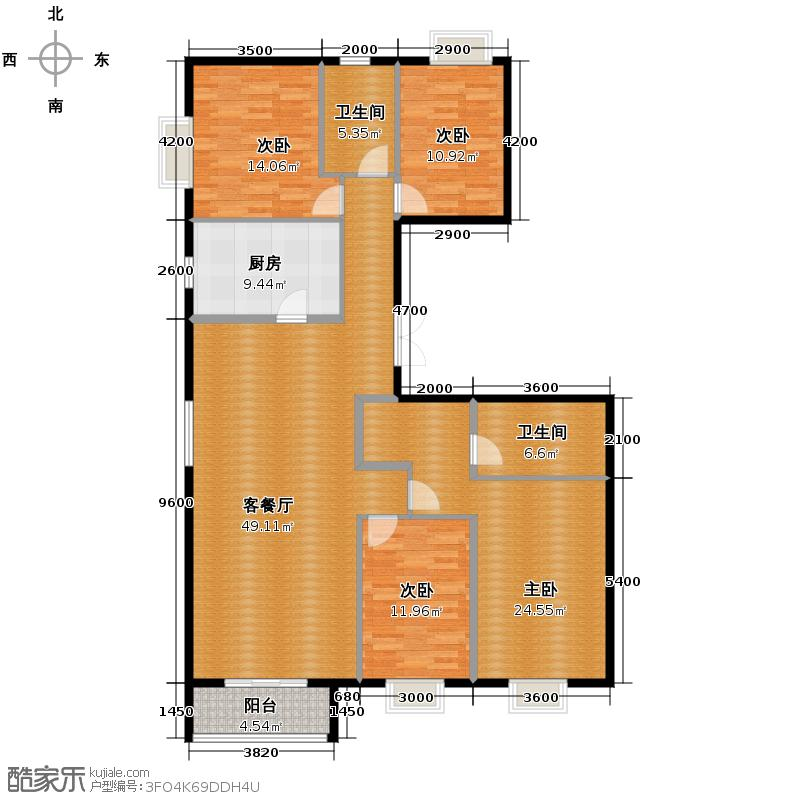 华纺易城186.87㎡C1户型4室1厅2卫1厨