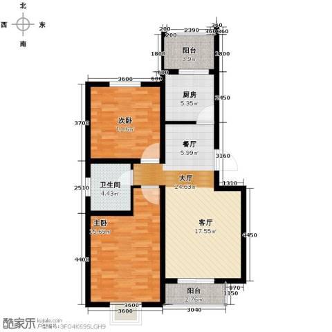 港东未来城2室2厅1卫0厨89.00㎡户型图