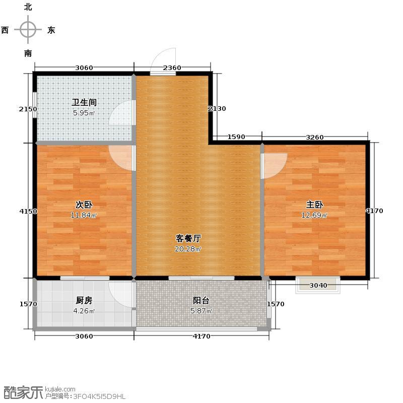 千泓花苑65.67㎡图为户型2室1厅1卫1厨