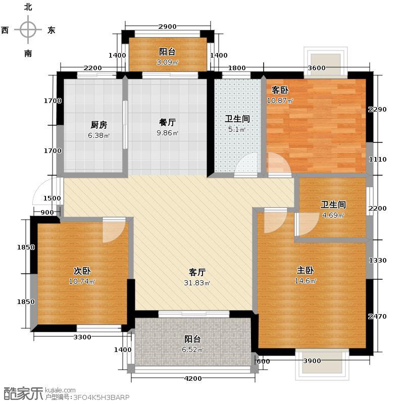 地华梅溪湖畔121.20㎡D1户型3室2厅2卫