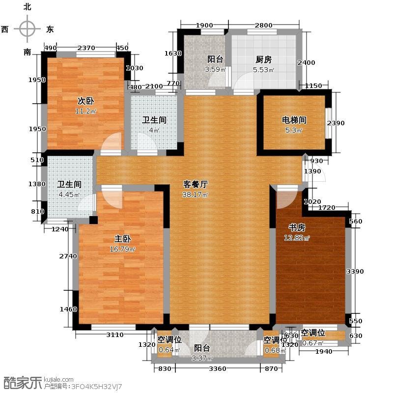 津滨藏锦143.00㎡3-L户型3室2厅2卫