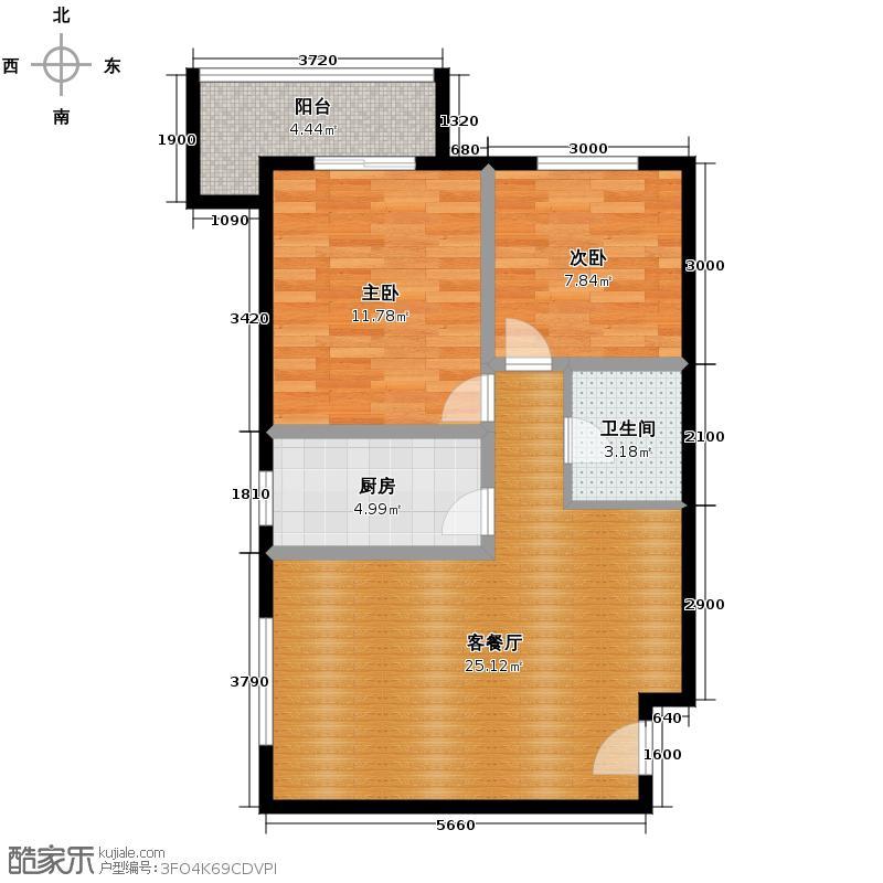 皇族名居2期64.98㎡二期6#楼C7户型2室2厅1卫