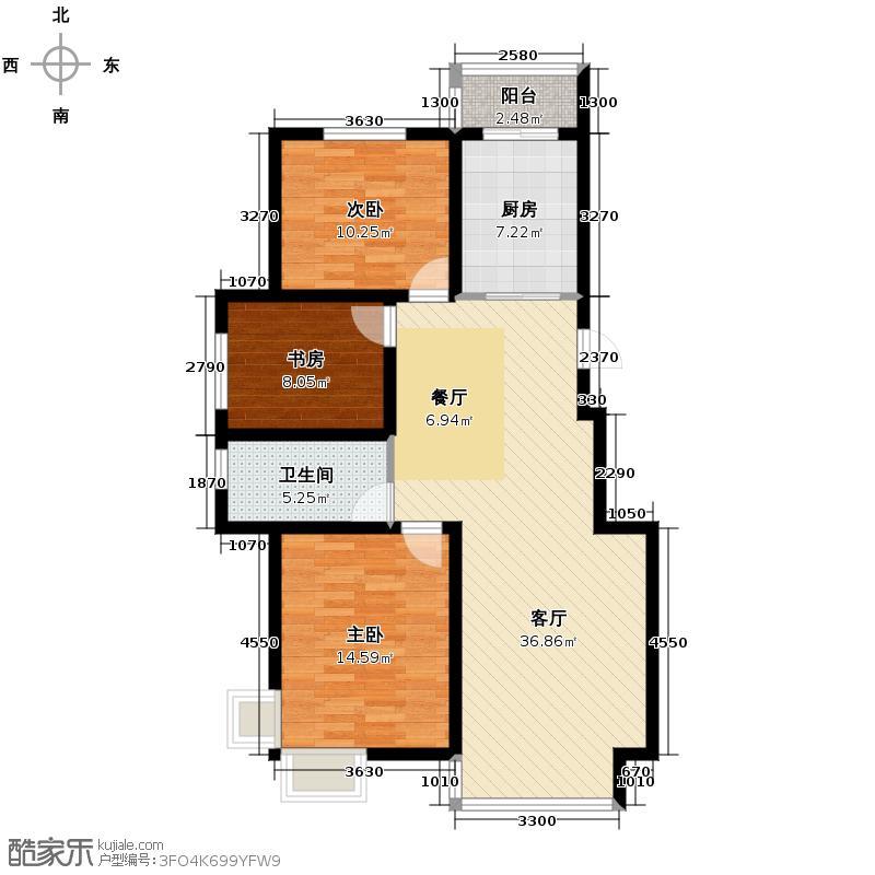 众邦生活家112.00㎡A1户型3室1厅1卫1厨
