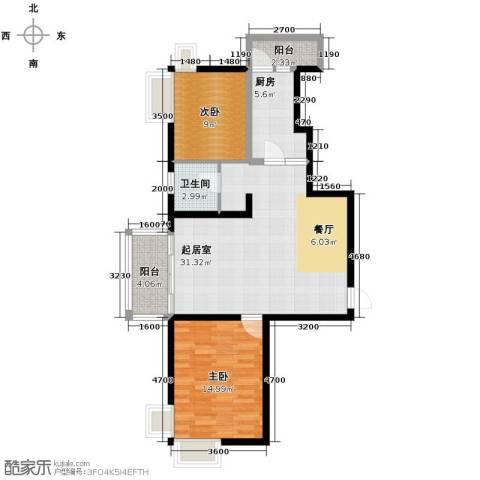 河东万达广场2室2厅1卫0厨106.00㎡户型图