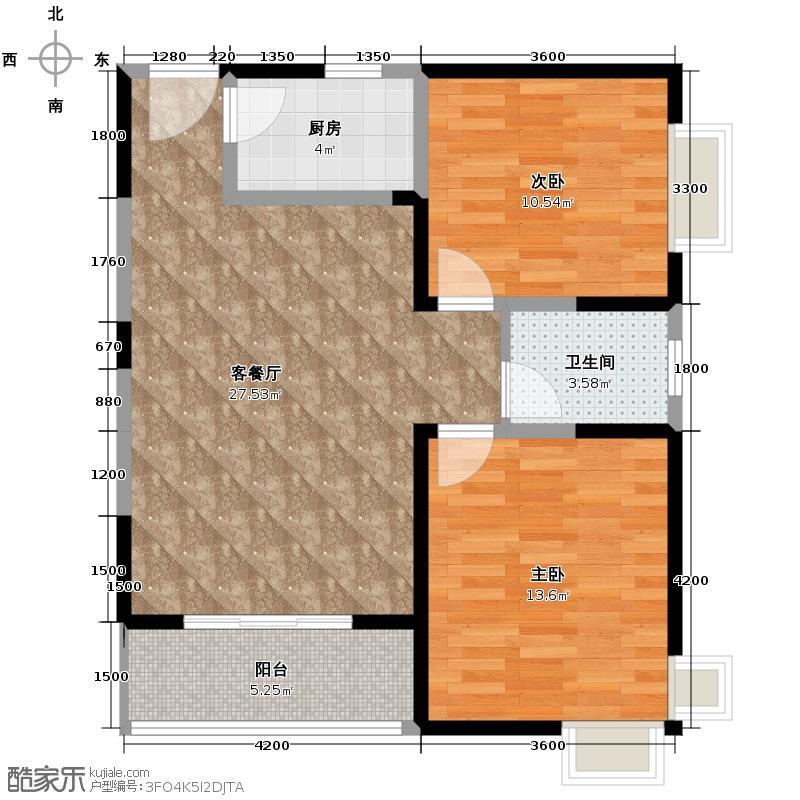 晟方佳苑87.64㎡1#楼F1户型2室1厅1卫1厨