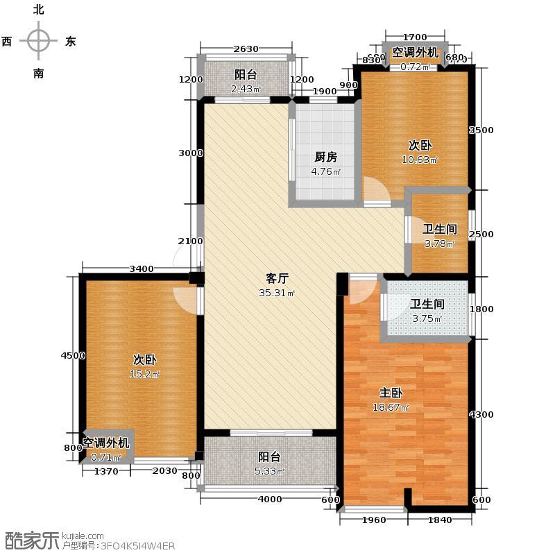 佰仕苑133.00㎡户型3室1厅2卫1厨
