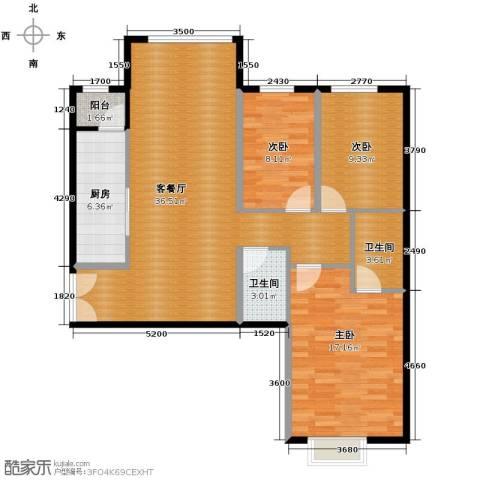 北京华贸城3室2厅2卫0厨119.00㎡户型图