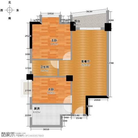 山水华景2室1厅1卫1厨83.00㎡户型图