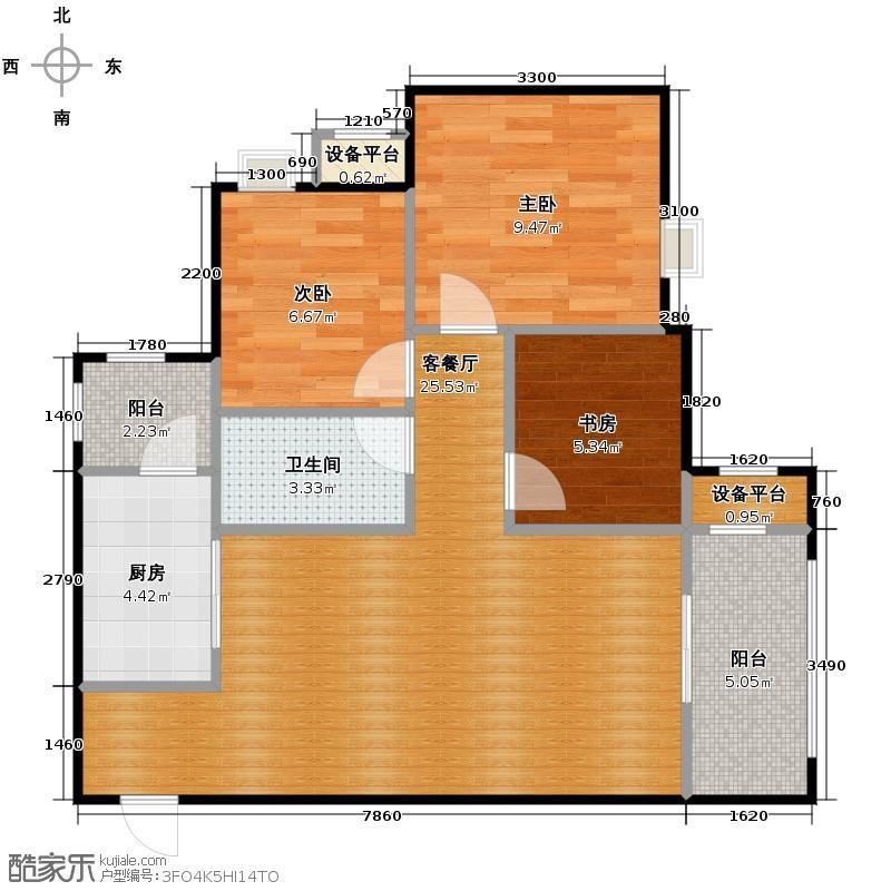 金科廊桥水乡81.18㎡天都小公馆C1带可变空间层高29米户型3室1厅1卫1厨