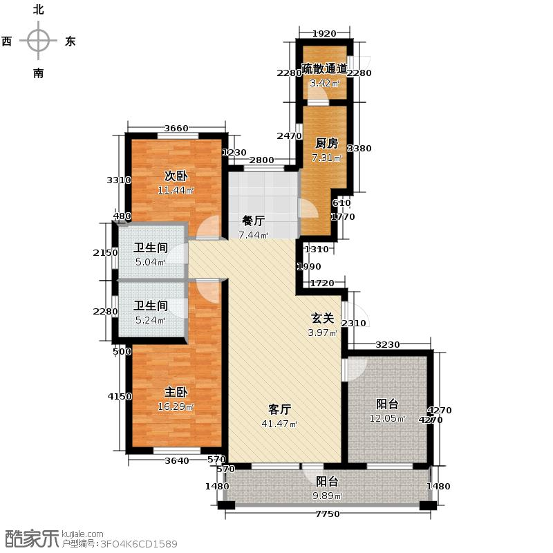 格林馨港湾137.00㎡Q户型3室2厅2卫
