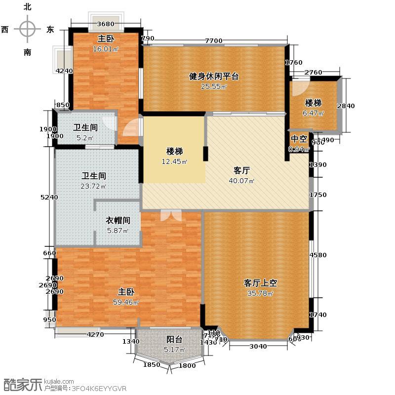汇景新城470.70㎡E1街区C栋单数层02单位户型2室2厅1卫