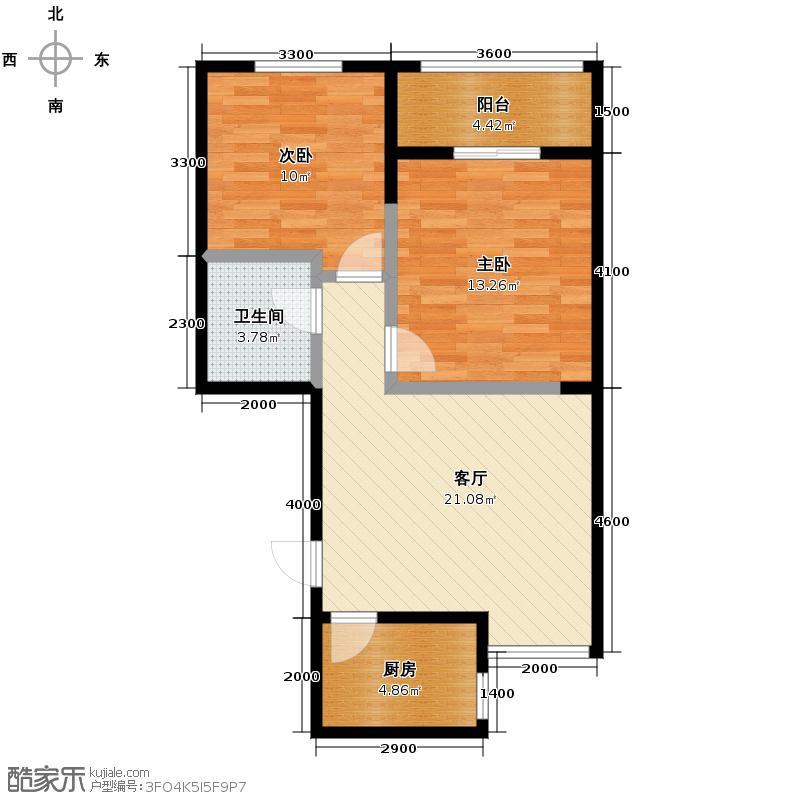 高新左岸80.42㎡E户型2室1厅1卫1厨