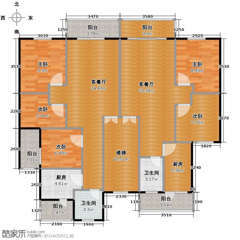 鼎秀风林141.51㎡户型5室2厅2卫2厨
