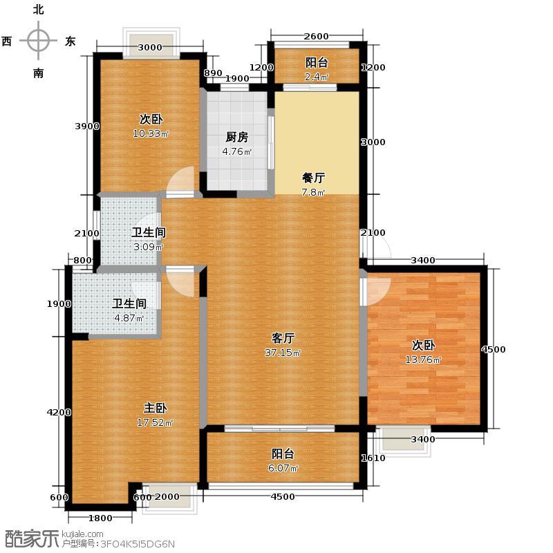 佰仕苑134.00㎡户型3室1厅2卫1厨