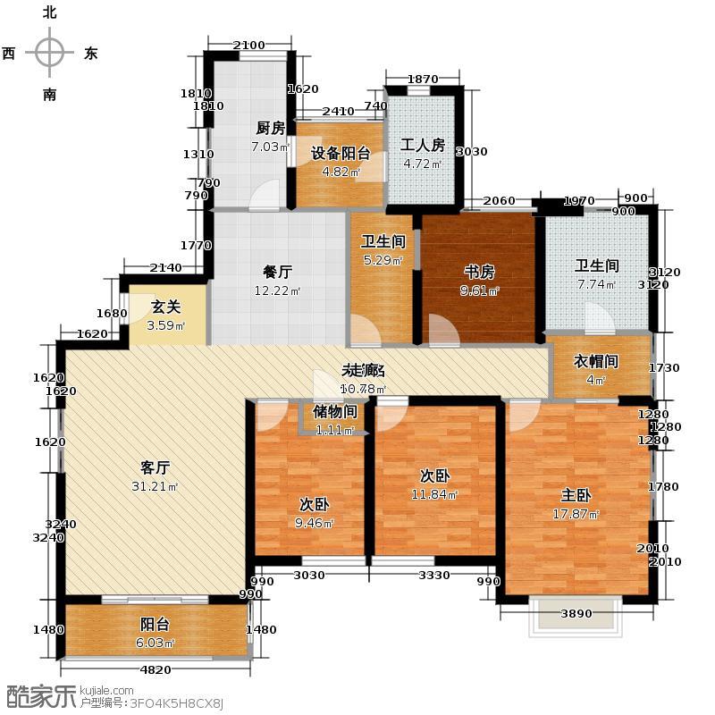 仁恒河滨花园160.34㎡B2户型4室2厅2卫