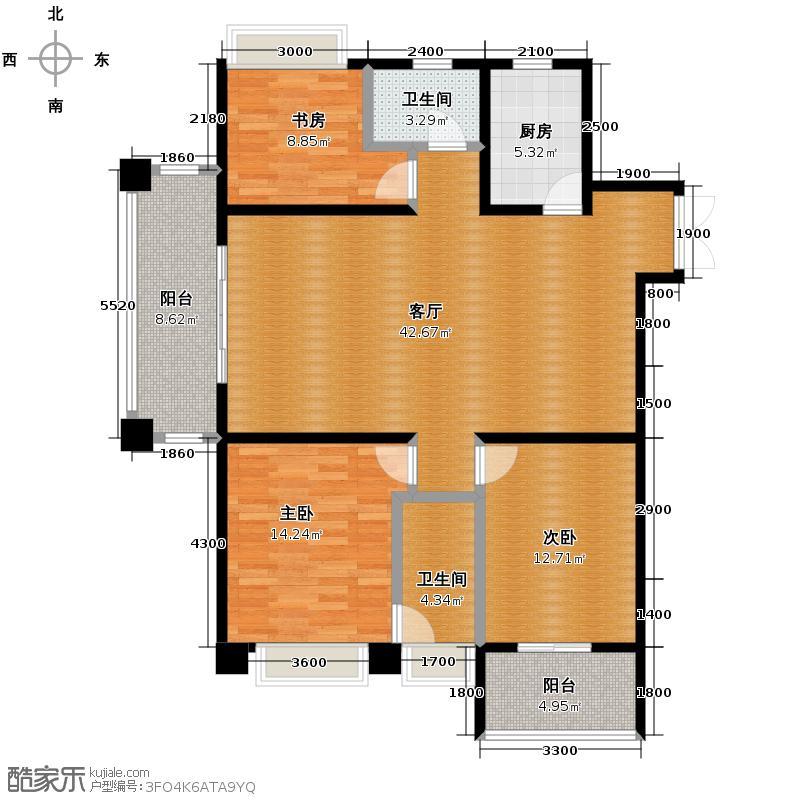 星洲国际131.00㎡E1a户型3室2厅2卫