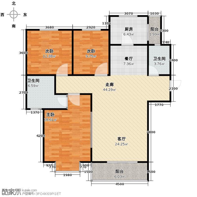 中航瑞祥花园143.67㎡B2户型3室2厅2卫