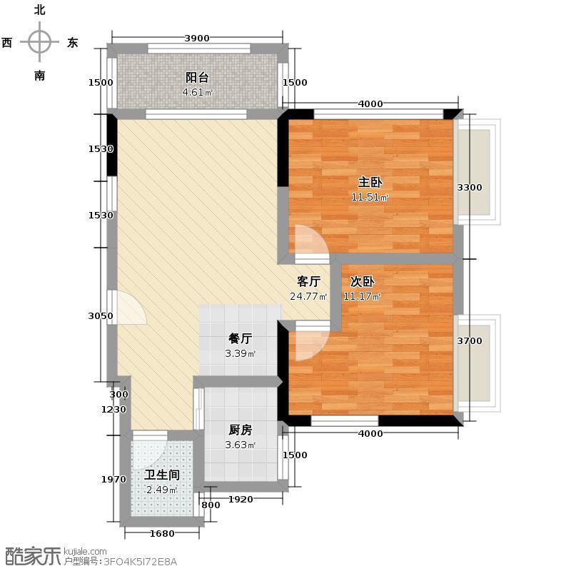 枫林家园87.11㎡F-1户型2室2厅1卫