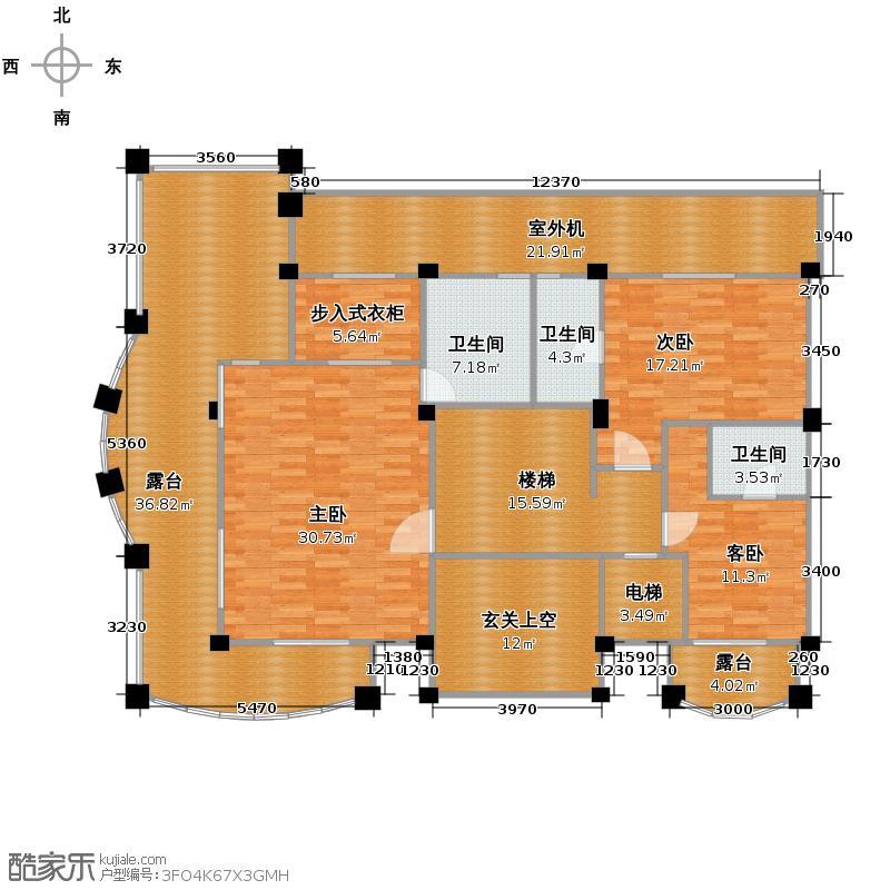 西郊公馆121.31㎡B地下二层户型10室