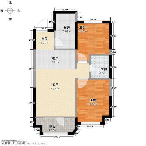 金地锦城2室1厅1卫1厨90.00㎡户型图