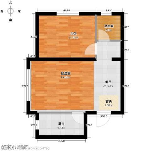 城建南郡1室2厅1卫0厨55.00㎡户型图