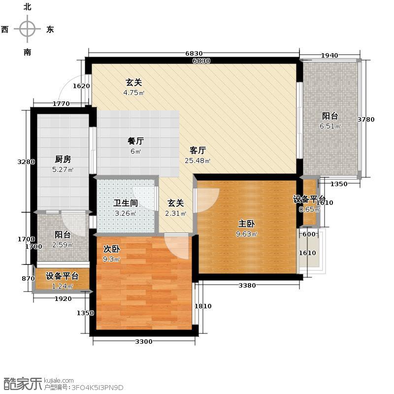 爱加欧郡63.00㎡高层6栋5号房户型2室2厅1卫