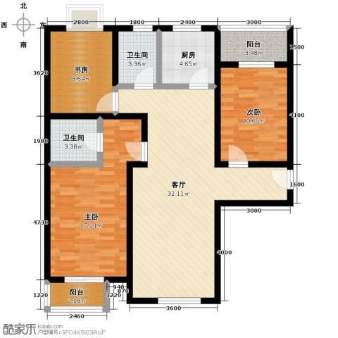 美林湾3室1厅2卫1厨125.00㎡户型图