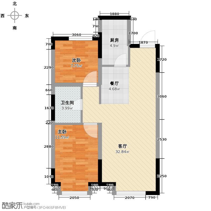 东安加州枫景94.00㎡二期19号楼户型2室2厅1卫