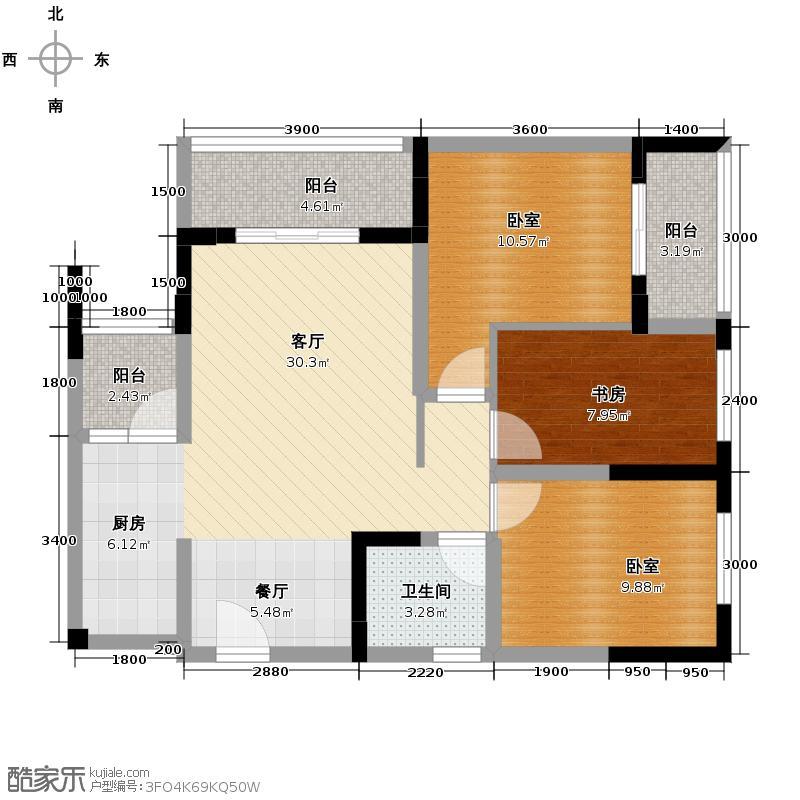 珠江太阳城捌零公馆77.33㎡二期C3栋2、7号房标准层户型3室2厅2卫