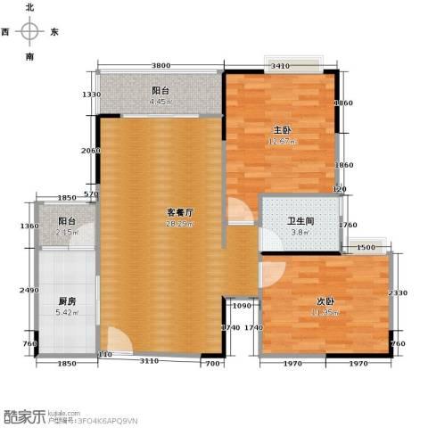 恒通御景天都2室1厅1卫1厨92.00㎡户型图