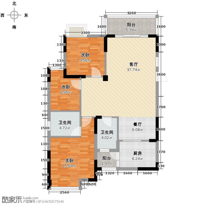 温哥华南苑117.14㎡1-G-1户型3室2厅2卫