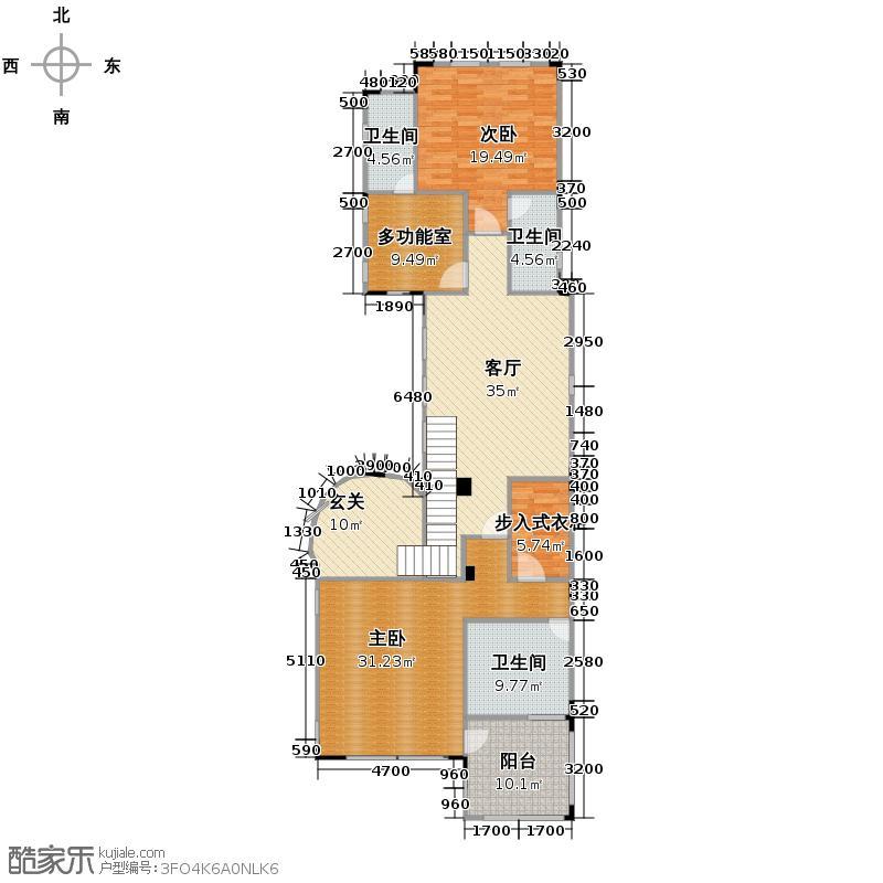 上邦高尔夫国际社区384.70㎡Fb-1类独栋别墅第二层户型10室