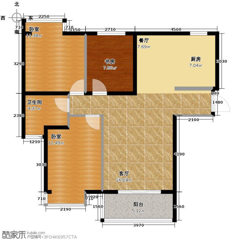 长航蓝晶国际104.00㎡二期D户型3室2厅1卫