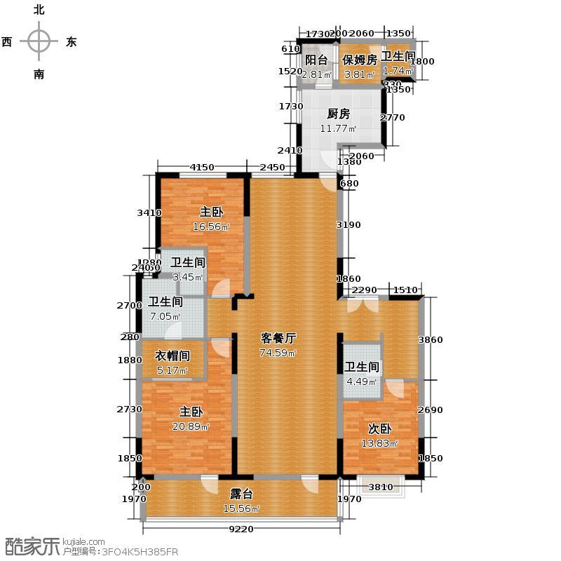 富力十号203.60㎡A1栋一单元02室标准层平面图(偶数层)户型10室