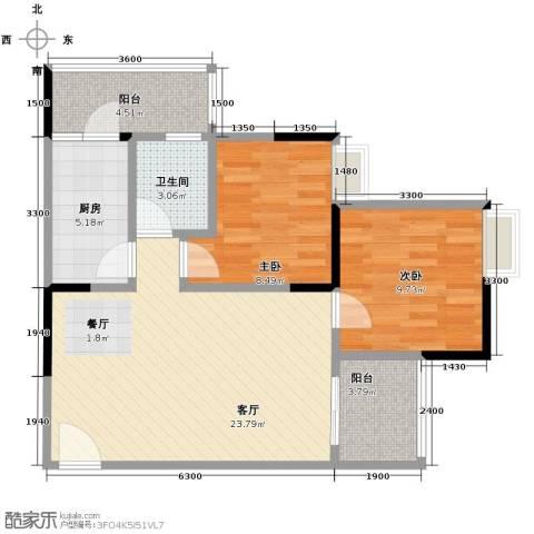 大鼎世纪滨江2室2厅1卫0厨58.57㎡户型图